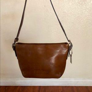 Small brown leather coach shoulder/wristlet bag